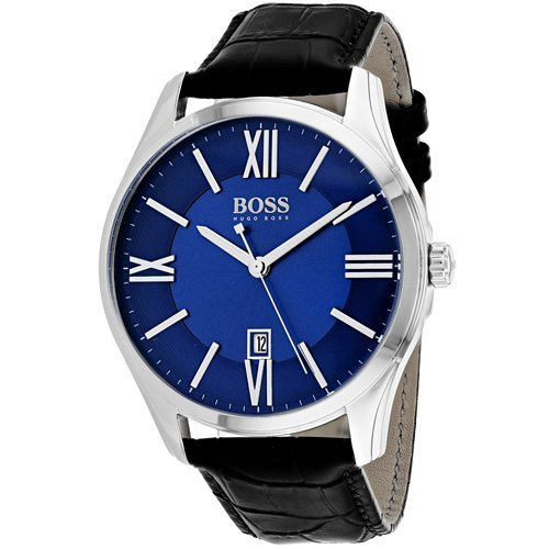 (Hugo Boss Men's 42mm Black Leather Band Steel Case Quartz Blue Dial Analog Watch 1513386)