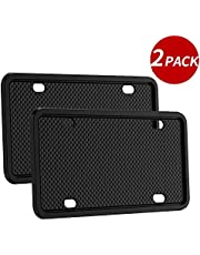 2pack Silicone License Plate Frame Universal American Canada License Plate Holder Rust-proof & Rattle-proof (black)
