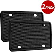 2pack Silicone License Plate Frame Universal American Canada License Plate Holder Rust-proof & Rattle-proo