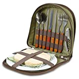 Bright Outdoors Picnic Set for 2 – Compact wallet to fit basket or bag. With board, opener, napkins