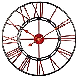 BEW Skeleton Wall Clock, 24 Inch Vintage Open Face Decorative Metal Clock with Roman Numeral, Silent Battery Operated Indoor Iron Clock for Living Room, Dining Room, Apartment, Cafe (Red Numbers)