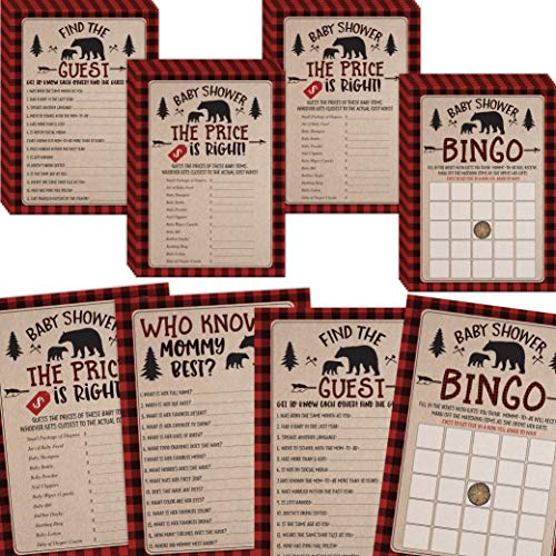 Lumberjack Boy Baby Shower Games, Bingo, Find The Guest, The Price Is Right, Who Knows Mommy Best, 25 games each