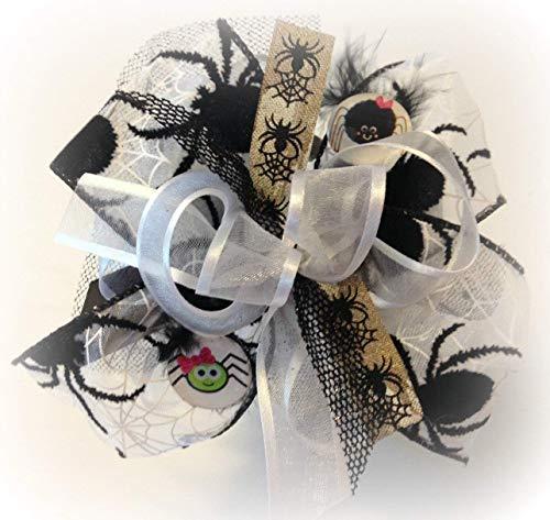 WHITE BLACK SPIDERS LITTLE GIRLS HAIR BOW SPARKLE GLITTER SPOOKY HALLOWEEN COSTUME -
