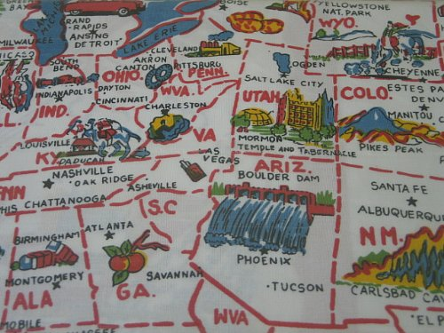 Moda Home American Wonderland Cotton Tablecloth USA Map Staycation 981-98
