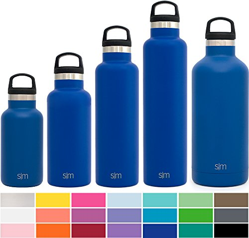 Simple Modern 32oz Ascent Water Bottle - Stainless Steel Hydro Swell Flask w/Handle Lid - Metal Double Wall Vacuum Insulated Blue Reusable Tumbler Aluminum 1 Liter Cold Leak Proof - Twilight