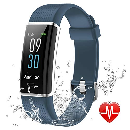 Lintelek Fitness Tracker, Color Screen Activity Tracker with Heart Rate Monitor, Sleep Monitor, 14 Sports Modes, IP68 Waterproof Pedometer, Step Counter for Kids, Women, Men (Smoky - Sports Schedule Watch