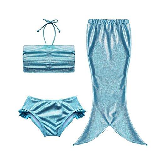 Newland Girl's Kids Mermaid Tail 3PCS Swimsuit Bathing Suit SwimWear Blue 150