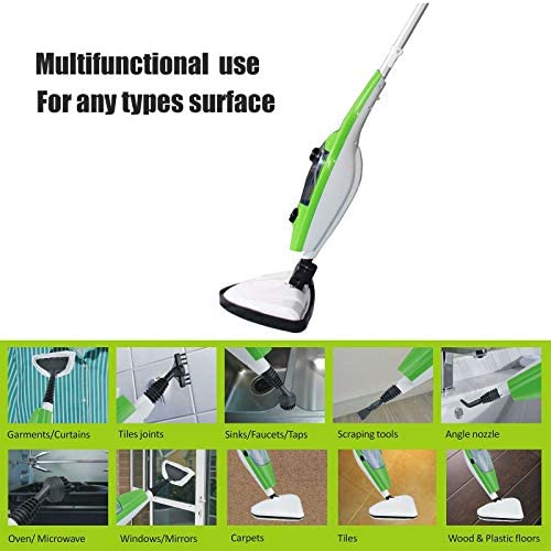 JAOSY 10 in 1 Bush Upright Steam Mop, 1300w Steam Cleaner with Detachable Handheld Steamer, 4 Level Steam Regulator & Rotation Angle Mop Head, High Efficient to Heat Up
