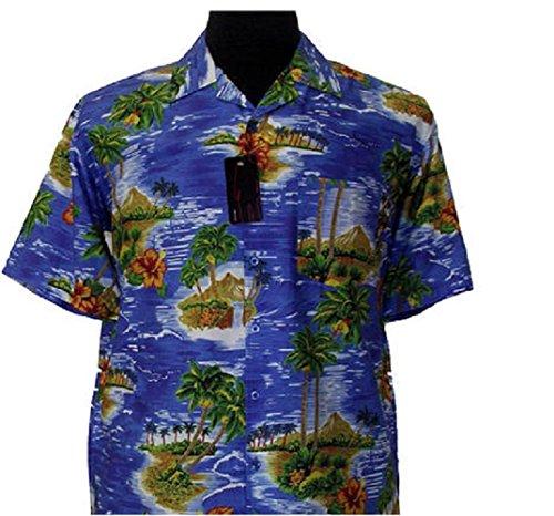 Espionage Baumwolle Blau Hawaii Hemd (164) in den Größen 2XL to 8XL