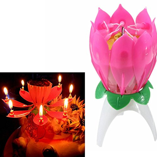 SOLMORE New Plastic Musical Birthday Candle Flower Lotus Shape Party Gift Sparkler Flame