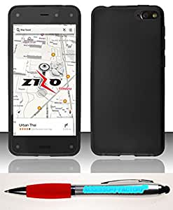 Accessory Factory(TM) Bundle (the item, 2in1 Stylus Point Pen) For Amazon Fire Phone (AT&T) - TPU Case Cover Protector Black
