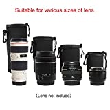 XCSOURCE 4pcs DSLR Camera Drawstring Neoprene Lens Pouch for Sony Canon Nikon Pentax Olympus Panasonic Lens S+M+L+XL (Black)