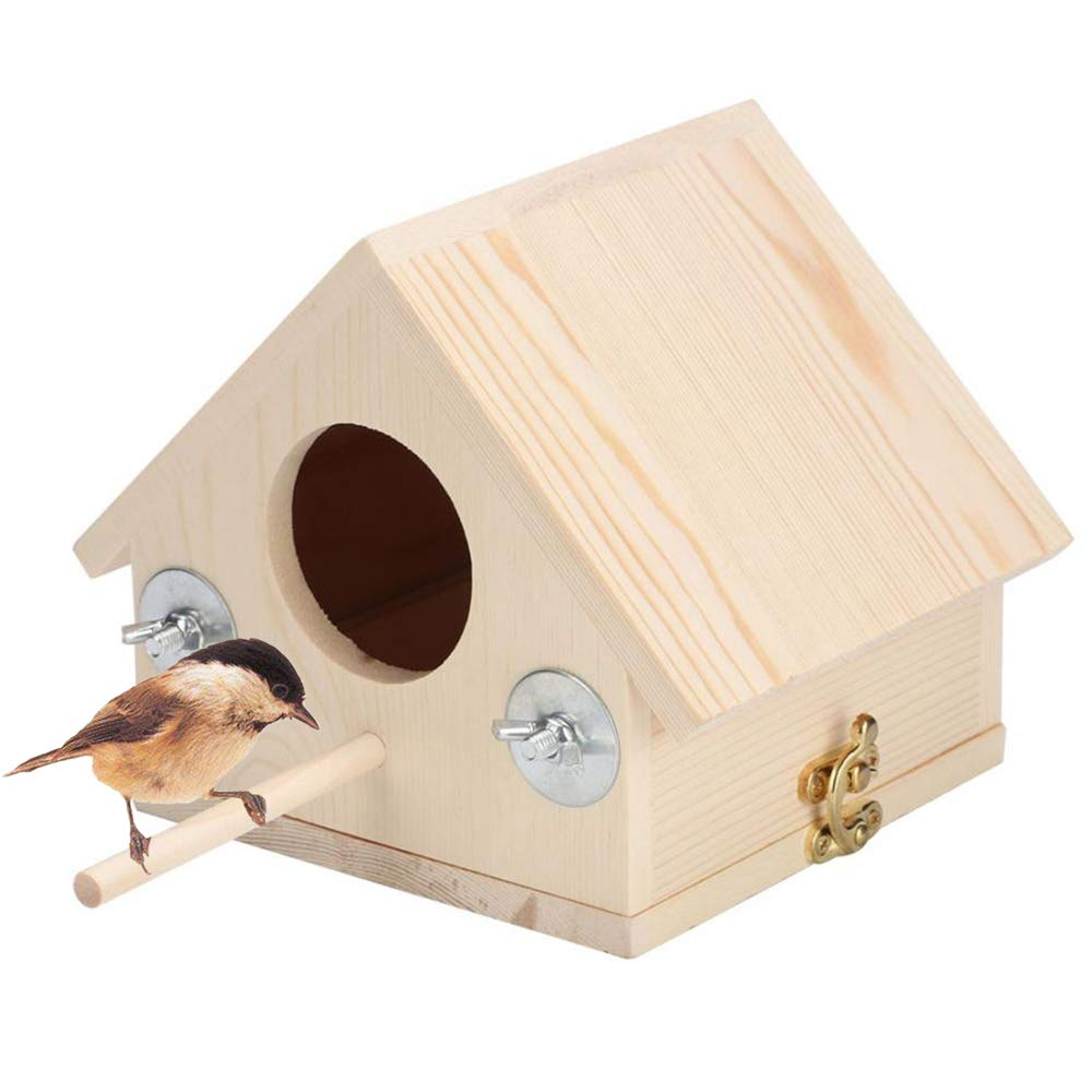 kathson Wooden Bird House, Bird Hut with Perches Outdoor or Indoor, Garden Decoration for Small Birds Like Dove Finch Wren Robin Hummingbird Sparrow Throstle