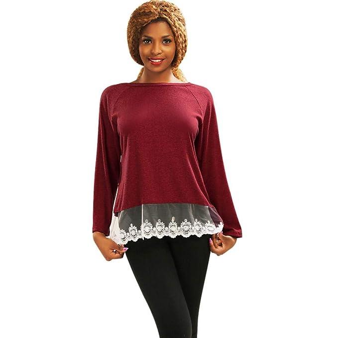 MEIbax Mujeres de Manga Larga con Cuello en O Camiseta Casual Blusa de algodón con Camisetas Sueltas Camiseta: Amazon.es: Ropa y accesorios
