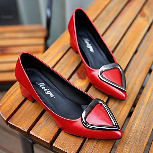 Singles y Alto como Xue de El Zapatos Luz versátil los Qiqi Zapatos en de Femeninos los Zapatos Boda Zapatos Moda Tacón la Gruesos de de los Que Punta rojo con Mujer Zapatos qHzUq