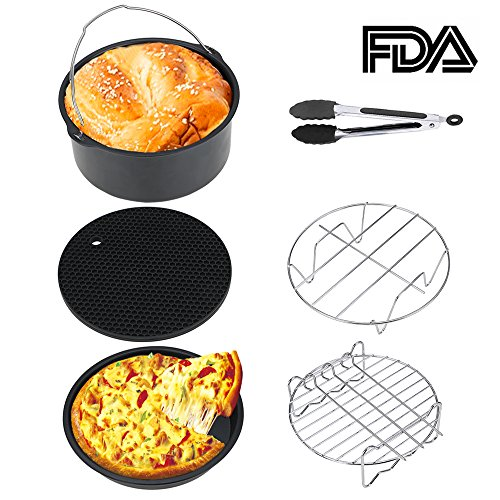 MFW Air Fryer Accessories, 6-pieces Premium Air Fryer Accessories Set for Gowise, Phillips, Cozyna and More Brand, Fit all 3.7QT &5.3QT & 5.8QT