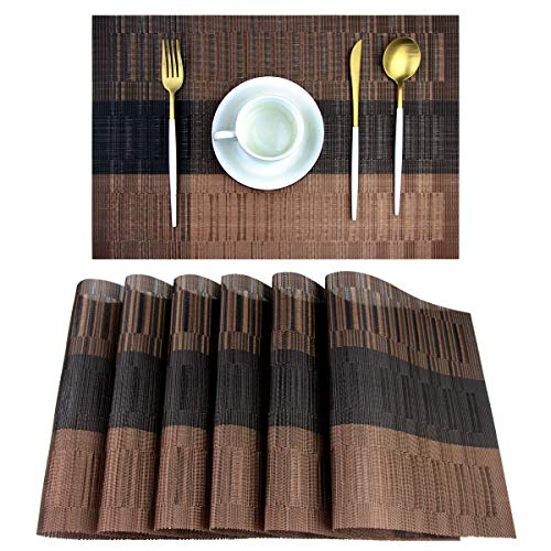pigchcy Placemats,Washable Vinyl Woven Table Mats,Elegant Placemats for Dining Table Set of 6(Bamboo-Brown)