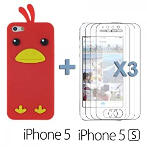 Chick Style Soft Silicone For SamSung Galaxy S4 Case Cover - Red with 3 Screen Protectors