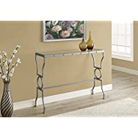 SILVER METAL WITH TEMPERED GLASS CONSOLE TABLE