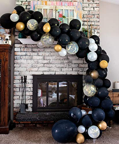Balloon arch Garland Kit | Black White Gold Confetti Balloons in Assorted Sizes | Decorations for Parties Wedding Baby Shower Graduation | Includes Glue Dots Strip Inflator Pump (Black And White Strip Balloons)