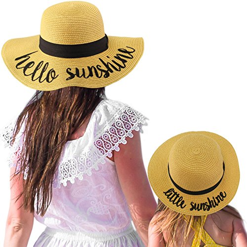 C.C Womens Mommy and Me Girls Sayings Summer Beach Pool Floppy Dress Sun Hat Natural (Little Sunshine) by C.C