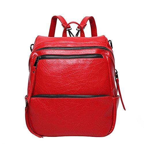 WTUS Mujer tendencia de la moda y la mochila mochila de viaje de las mujeres elefante Rojo