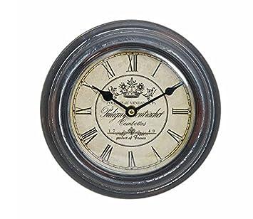 Reloj De Pared De Metal 22 cm - Diseño: France/Francia - Vino - Números Romanos - Reloj Nostalgie rústico - Estilo: Amazon.es: Hogar