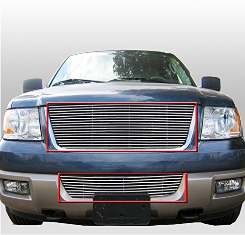 (ZMAUTOPARTS Upper + Bumper Billet Grille Grill Insert Combo For 2003-2006 Ford Expedition)