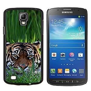 KLONGSHOP // Cubierta de piel con cierre a presión Shell trasero duro de goma Protección Caso - Tiger Clever - Samsung Galaxy S4 Active i9295 //