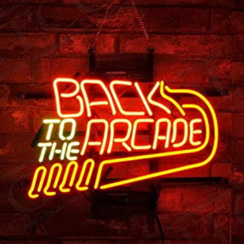 """New Back To The Arcade Retro Neon Sign 20/""""x16/"""" Real Glass Lamp Lighting Windows"""
