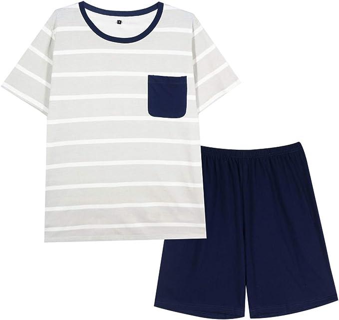GOSO Pijama para Hombre Conjunto de algodón Ropa de Dormir Manga Corta Top con Pantalones Largos/Corta Suave Cómodo Ropa de Dormir: Amazon.es: Ropa y accesorios
