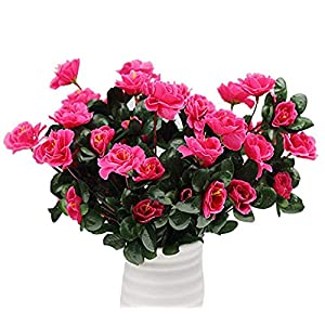 Lopkey Outdoor Silk Artificial Red Azalea Bush,Rose Red (3pack) 91