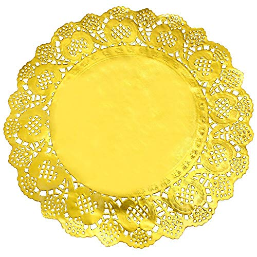 12'' Gold Foil Metallic Round Paper Doilies Golden Foil Paper Doilies for Party Wedding (50 Pack)