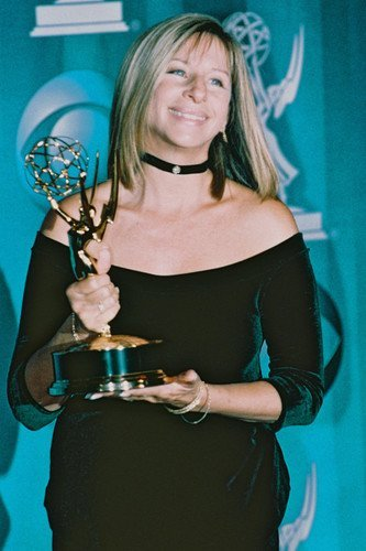 Barbra Streisand 24x36 Poster in Black Dress Holding Golden Globe Award