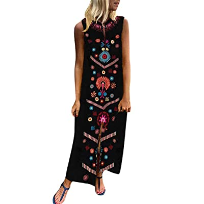 F_Gotal Womens Dresses Summer Floral V-Neck Vintage Mini Tank Dress Sleeveless Baggy Kaftan Long Dress Beach Sundress at Women's Clothing store