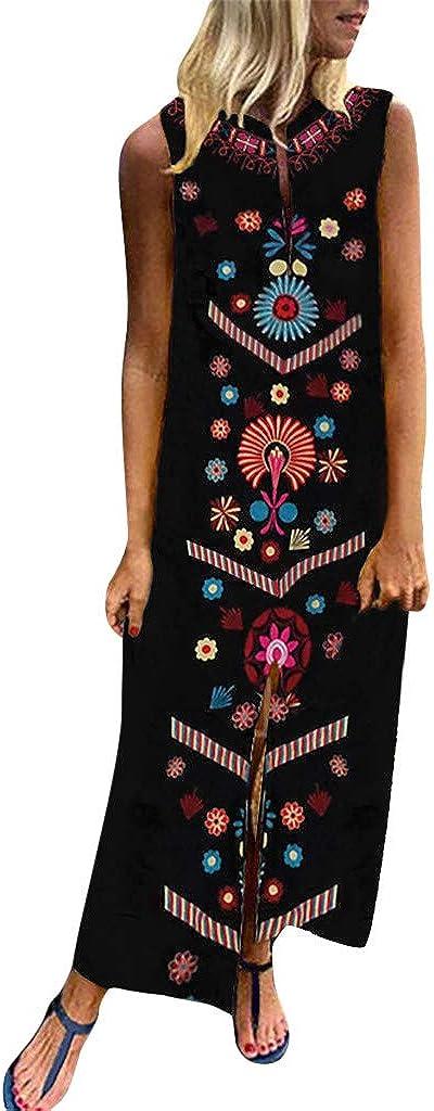 Chanyuhui Womens Vintage Boho Dresses Summer Plus Size O-Neck Print Short Sleeve Long Maxi Dress Loose Beach Sundress