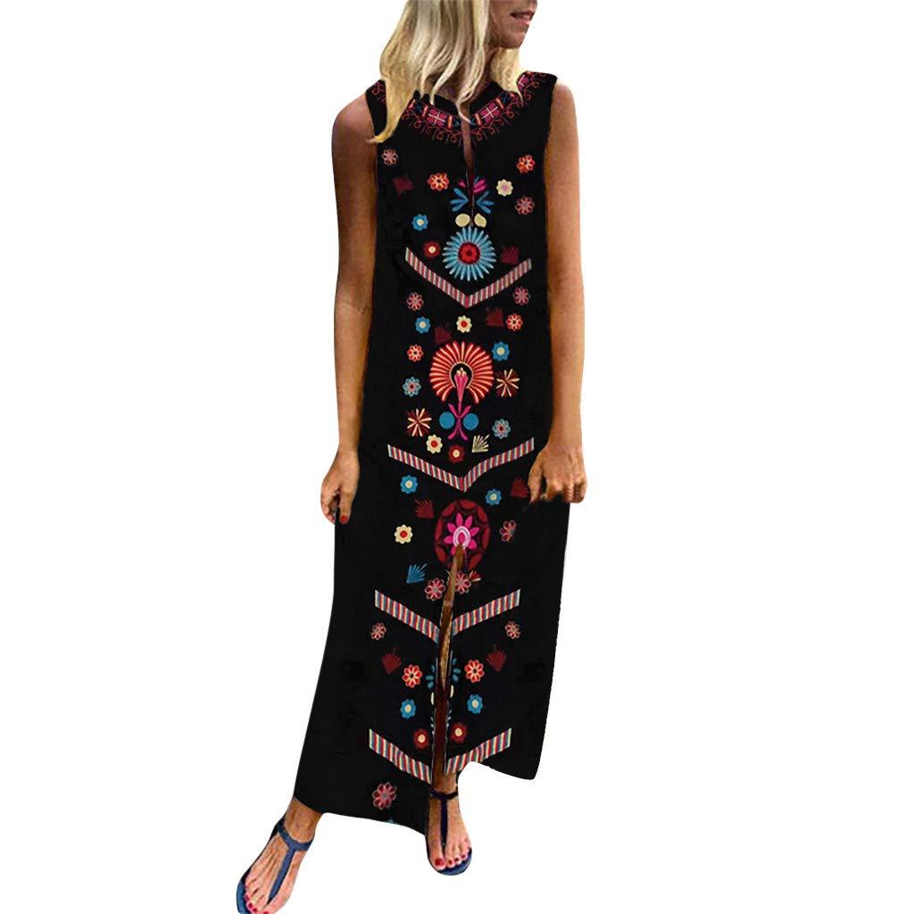 Cianjue Women's Printed Ethnic Style Sleeveless V-Neck Plus Size Dress Hem Long Summer Beach Dress Black