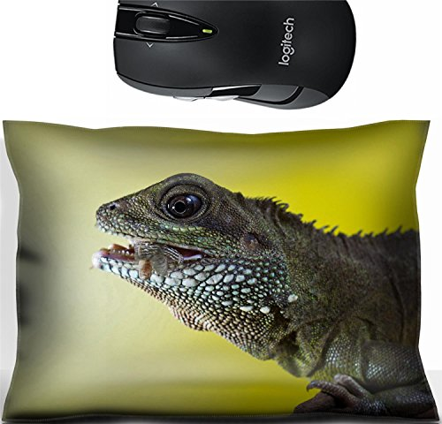 Liili Mouse Wrist Rest Office Decor Wrist Supporter Pillow Close up portrait of beautiful water dragon lizard reptile eating an insect Photo 19504434