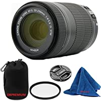 Canon EF-S 55-250mm F4-5.6 IS STM (Bulk White Box Packaging) DBPREMIUM Lens Bundle + High Definition U.V. Filter + Deluxe Pouch for Canon Digital SLR Cameras Overview Review Image