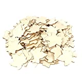 uxcell Wooden Household Maple Leaf Shaped Decor DIY Handcraft Slice 7.5 x 6.5cm 100pcs