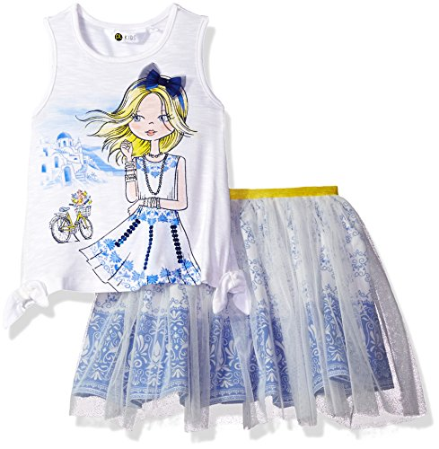 Skirt 100 Percent (Petit Lem Little Girls' Santorini Crush 2pc Set Top and Skirt Knit, 100, 3)