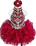 HuaMei Toddler Girls Halter Kids Birthday Party Cupcake Pageant Dresses 4T US Red