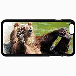 Personalized Protective Hardshell Back Hardcover For iPhone 6 Plus, Bear Water Rocks Sit Paw Design In Black Case Color