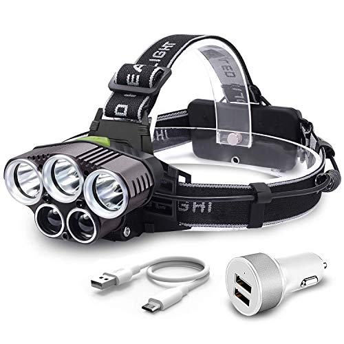 Head Torch,Witmoving Headlamps Flashlight with 5 CREE LED,USB Charge,6...