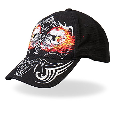 Hot Leathers Mirror Skulls Ball Cap (Black)