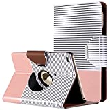 ULAK iPad Mini 4 Case - Mini 4 Case - 360 Degree Rotating Smart Synthetic Leather Stand Case Cover for Apple iPad Mini 4 (2015 Release) with Auto Sleep Wake Function (Rose Gold Minimal Stripes)
