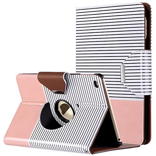 - ULAK iPad Mini 4 Case, Mini 4 Case, 360 Degree Rotating Smart Synthetic Leather Stand Case Cover for Apple iPad Mini 4 (2015 Release) with Auto Sleep/Wake Function (Rose Gold/Minimal Stripes)