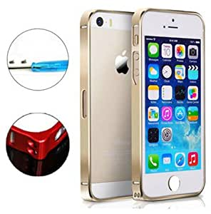 Mouse Over Image To Zoom Luxury 0.7Mm Ultra-Thin Colored Aluminum Metal Blade Bumper Case For Iphone 5 5S Gold-Gold
