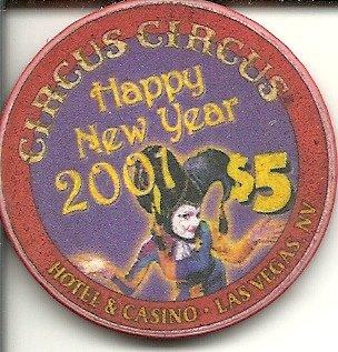$5 circus circus 2001 happy new year rare las vegas casino chip