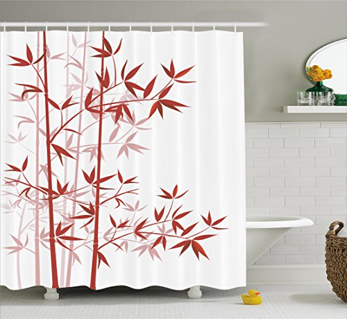 Asian Bamboo Plant (Bamboo Shower Curtain by Ambesonne, Illustration Of Bamboo Asian Nature Exotic Plant Pattern Cultural Symbolic Artwork, Fabric Bathroom Decor Set with Hooks, 70 Inches, Ruby White)